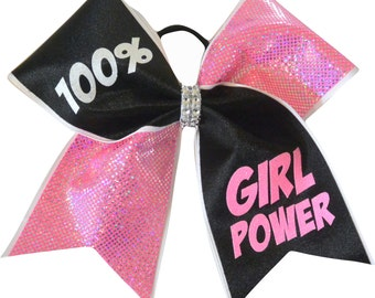 Cheer Bow - 100 Percent Girl Power Cheer Bow