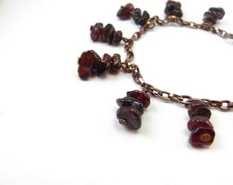 Garnet Copper Radial Chain Bracelet