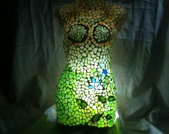 Mosaic Tumbled Sea Glass Glowing Manikin Body Wall Decor