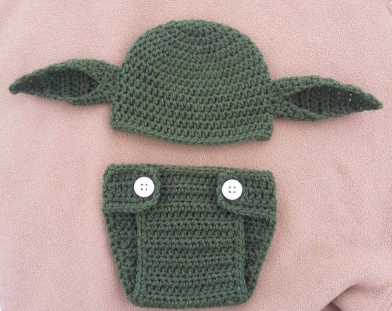 crochet Yoda baby hat diaper cover set newborn to toddler