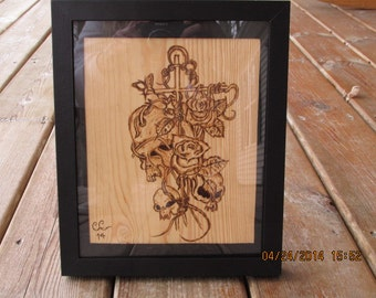 Skull with Cross Vines and Roses