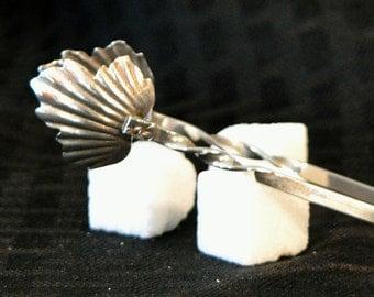 Sterling Silver Sugar Tongs - Sugar Cube Nips - Figural Leaf Sterling Silver Tongs - Raimond Sterling Silver
