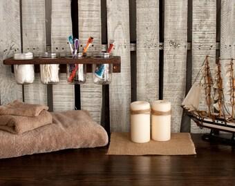 Wooden Wall-Mounted 4 Mason Jar Holder