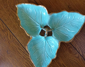 Vintage California Co Turquoise & Gold Candy Relish Dish ******Free Shipping