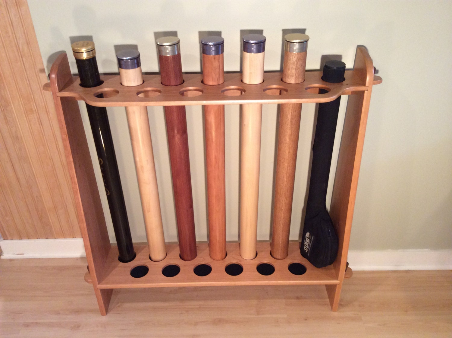 Fly rod tube storage rack 13 position for Fly fishing rod holder