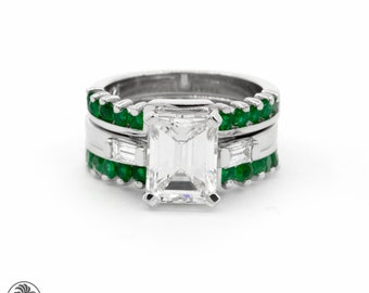 emerald cut engagement ring semi mount with emerald wedding bands white gold engagement