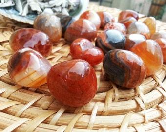 Fire Agate ~ 1 medium/large Reiki infused tumbled crystal