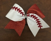 Cheer Bow - Softball Baseball Glitter (ANY COLORS)