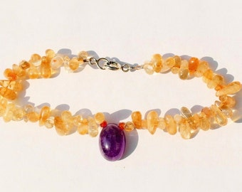 18.3 cm Sterling Silver Clasp bracelet with gemstones, citrine, amethyst and carnelian