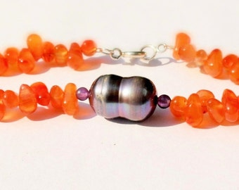 gemstone bracelet with Sterling Silver Clasp and large Pearl, Carnelian, Amethyst, 19 cm