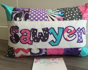 Pink, purple, grey and turquoise with flowers, children's personalized pillow case, 12x18 inches