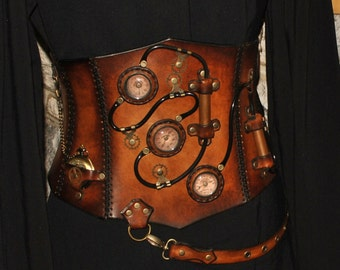 steampunk Leather corset
