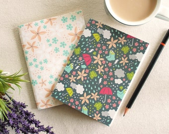 "Set of 2 pocket notebooks / ""Spring Rain"" / blank pages / hand bound with thread / gift"