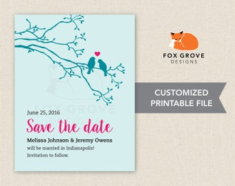 Lovebirds wedding save-the-date / Customized printable digital file / Printing services available in U.S.