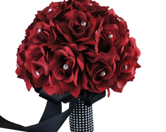 "10"" Rose Bouquet with rhinestone-Pick Rose & Ribbon Color"