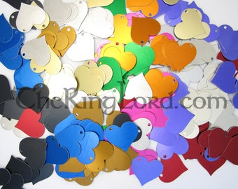 100 Heart Anodized Aluminum Tags