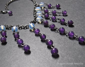 Amethyst and Opalite Dangle Necklace on a Dark Chain