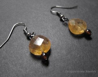 Vibrant Citrine Teardrops with Onyx Earrings