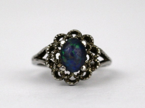 Sterling Silver Art Glass Ring - Vintage 60s Blue Confetti Glass Cabochon Ring -  Cocktail Ring Size 7