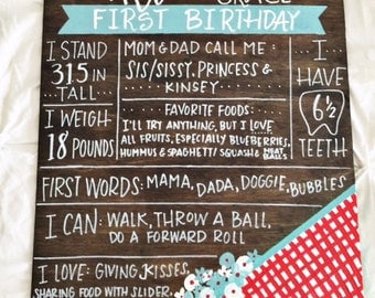 Hand Painted Milestone Board - First Birthday Chalkboard