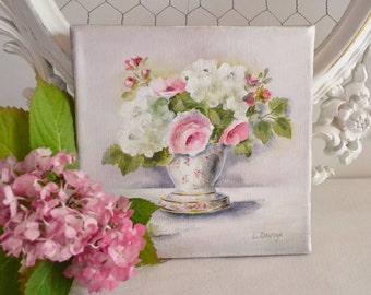 Tableau fleurs peinture originale style campagne par for Tableau style shabby