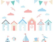 Beach Huts Canvas Wall Print, nursery decor, December gifts