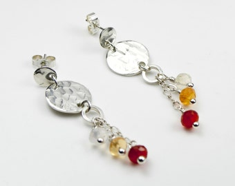 925 Sterling Silver Textured Disks Earrings with Mexican Fire Opals