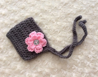 Crochet Newborn Baby Bonnet - MADE TO ORDER - Grey & Pink