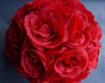 """Silk kissing pomander flower ball 10"""" RED"""