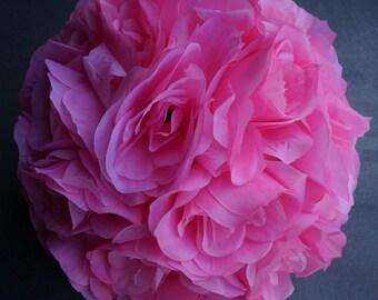 "Silk kissing pomander flower ball 10"" PINK"