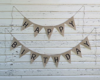 Happy Birthday Burlap Banner... Birthday Banner... Custom Birthday Banner