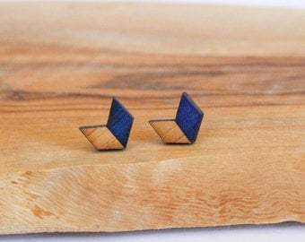 Chevron Natural Bamboo Earrings-Ultra Marine Blue
