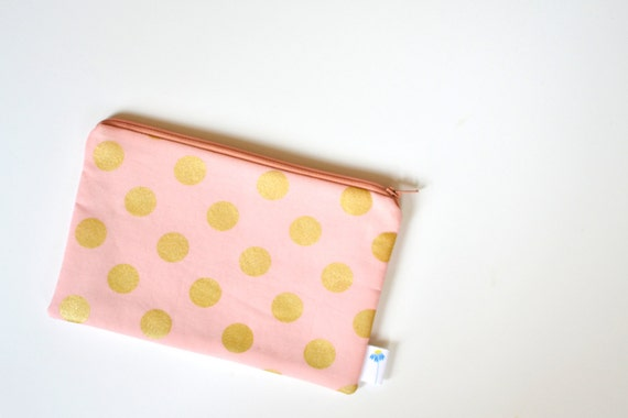 Peach Zippered Makeup Bag, Peach and Gold Zipper Makeup Bag, Peach and Gold Small Zipper Pouch, Polka Dot Toiletry Bag, Peach Cosmetic Pouch