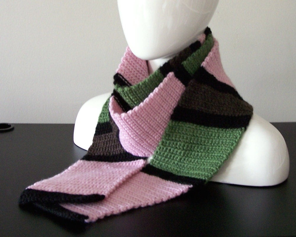thick wool scarf pink green brown and by ninastudioandgallery