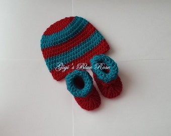 Crochet Baby Hat and Booties Set/0-3 months/Photo Prop/Ready to Ship
