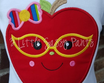 Apple with Glasses Shirt-Back To School Shirt- Back To School Applique Shirt- Custom Embroidered Shirt- First Day of School Shirt