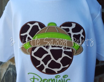 Mickey Mouse Safari Embroidered Shirt- Mickey Animal Kingdom Shirt- Disney Vacation Shirts- Custom Disney Shirt-Giraffe