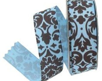 "7/8"" Grosgrain Damask Ribbon"