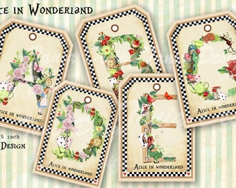 Alice in Wonderland Tag - digital collage sheet - set of 8- Printable - Download - Scrapbooking - Greeting cards