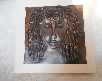 Copper art, metal art, copper embossing, wall art, wall plaque, original art