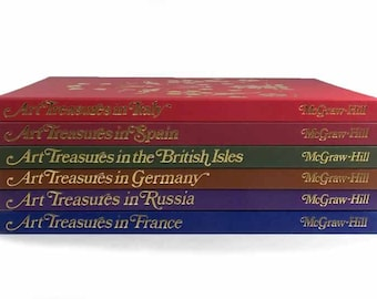 1969-1970 Volume Set of 5 Art Treasures From Around the World McGraw-Hill Publishers Instant Library Book Collection Decorative Books