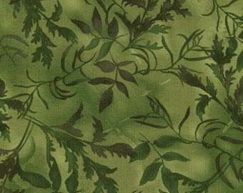 """Green vines and leaves.  Part of the """"Pandora"""" line of fabric by Chong-a Hwang."""