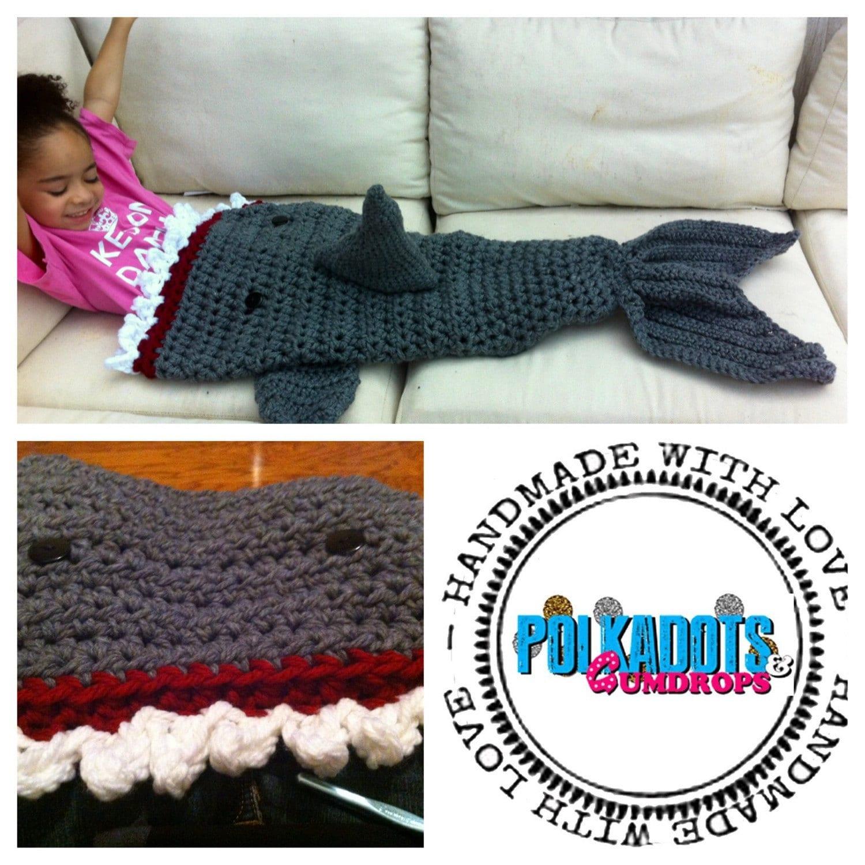 Free Crochet Patterns Shark Blanket : Shark Blanket Shark Attack Blanket Cocoon Preemie Child