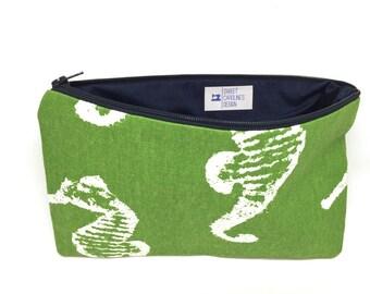 Green Seahorse Pouch, Slim Travel Wallet, Work Bag, Pures Organizer, Bathroom Storage, Everyday Bag, Summer Canvas Bag, Nautical Beach Bag