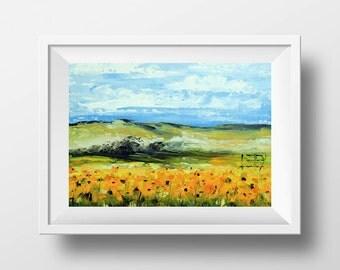 Sunflowers Art Print, Flower, Flowers, Sunflower, Flower print, Landscape Print, Sunflower print, 5x7,8x10,11x14, Signed Print, Archival