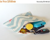 ON SALE Basic Zippered Pouch for SSC, TULAs and Waist Belts - Blue Zig Zag