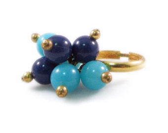Two Tone Blue Beaded Cluster and Gold Tone Ring - Adjustable
