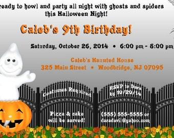 Halloween Invitation, Ghost, Pumpkin, Spider, Printable, DIY