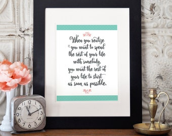 When Harry Met Sally, Movie Quotes, Printable, Love Art, Art Print, Instant Download, Couples Print