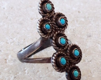 Native American Dead Pawn Zuni Turquoise Sterling Silver Petit Point  Ring Size 7 1/2 1970's